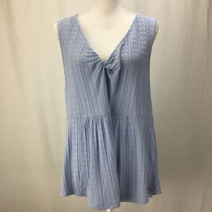 Lucky Brand  Sleeveless Textured Top Light Blue XL